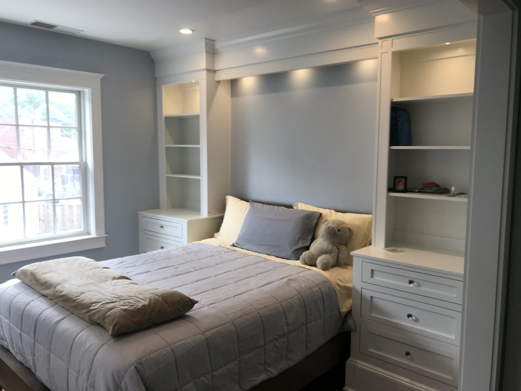 bedroom nook with built in shelves