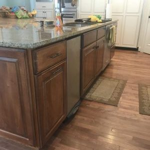 dark wood cabinets on kitchen island